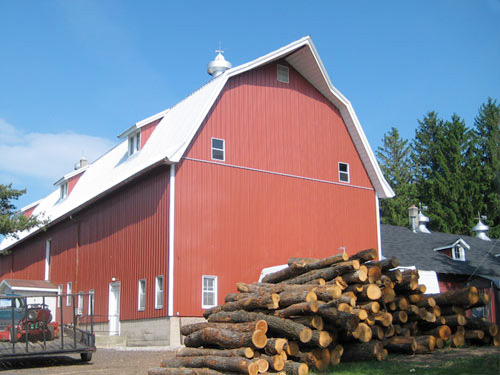 red barn and wood pile